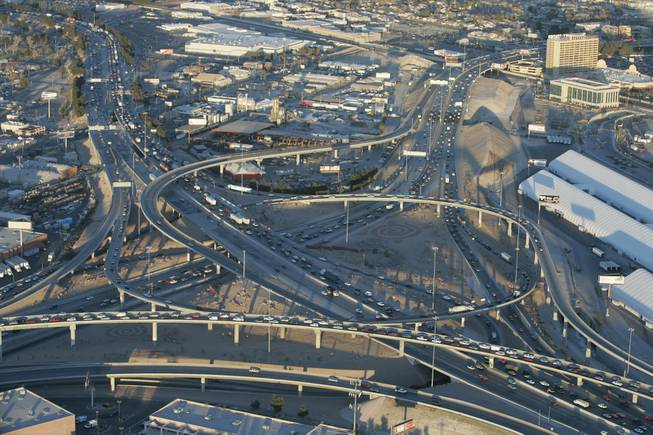 A view of the Spaghetti Bowl interchange taken from a KLAS-TV helicopter in 2006. The Spaghetti Bowl is where State Route 564, I-215, I-515, U.S Route 93 and U.S Route 95 converge. Las Vegas' record growth and the ensuing traffic problems created the necessity for interchanges and bypasses like the Spaghetti Bowl.