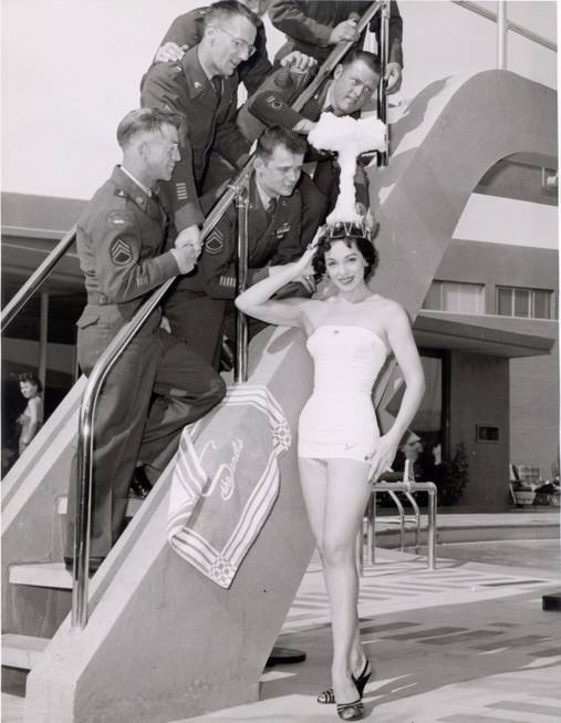 "Sands Copa Girl, Linda Lawson, is crowned ""Miss-Cue"" by military ..."