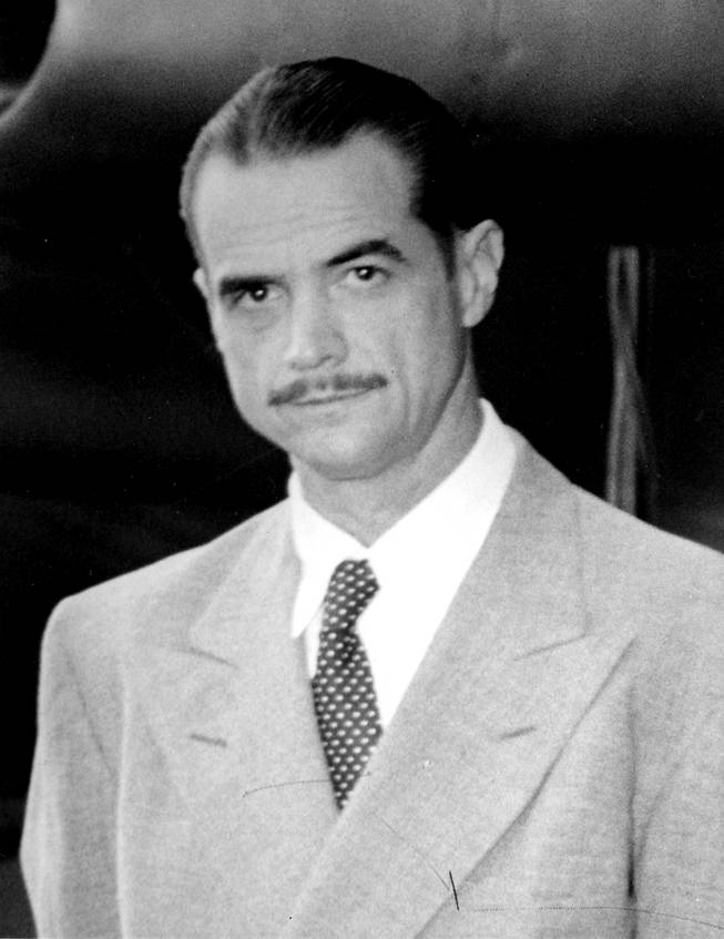 Howard Hughes raises an eyebrow at cameras during a headshot taken on Oct. 3, 1947. The UNLV College of Engineering is named in his honor, despite the fact he never paid the university all of the money he promised.