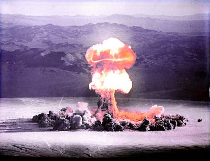 The Priscilla nuclear bomb is detonated over Frenchman Flat on June 24, 1957.  The test was one of a series of controversial nuclear tests codenamed Operation Plumbbob.   The 37 kiloton bomb was detonated at 700 feet above the valley floor via hot air balloon. Operation Plumbbob sought to take advantage of the nuclear tests with training exercises, war games and lectures for military personnel on how the atom bomb would change the way wars would be fought, culminating in the actual explosions every 5 days during the late spring and summer of 1957.