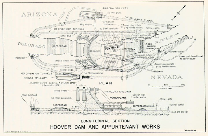 Hoover Dam Plans This Schematic Shows Hoover Dam And Its Power