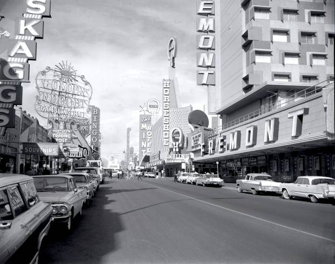 In 1965, when this photograph was taken, downtown's Fremont Street, now overshadowed by the Strip, was the center of the action in Las Vegas.