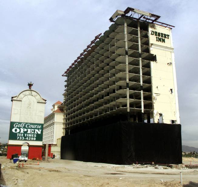 A gutted Desert Inn tower