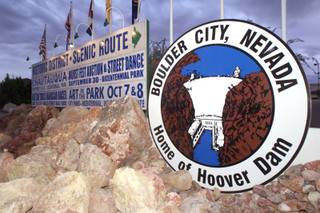 Signs in Boulder City at the intersection of U.S. 93 and Buchanan Boulevard welcome guests to the town. The city prohibited gambling at its inception and is one of two cities in Nevada where gambling is illegal. In 1969, Boulder City legalized the sale of alcohol.