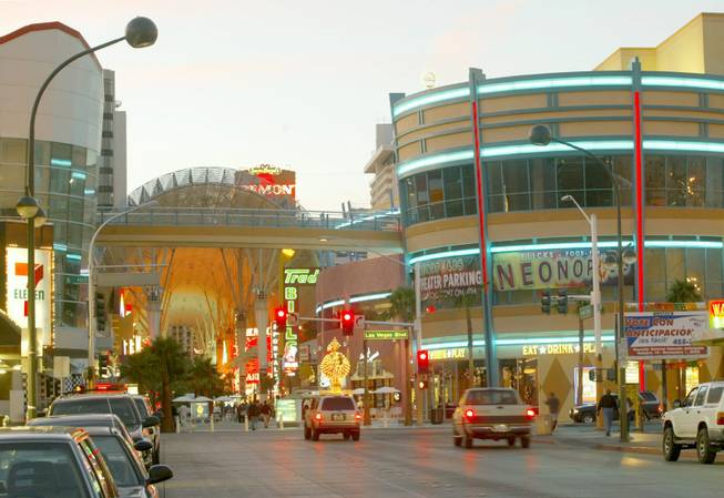 The intersection of Fremont Street and Las Vegas Boulevard shows Neonopolis and the Fremont Street Experience. Neonopolis was part of a 10-year renovation program for the downtown area.