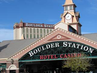 The clock tower of the Boulder Station hotel-casino obscures the resort's 15-story tower. Boulder Station has won three