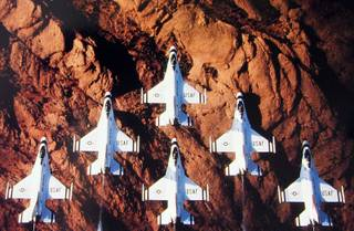 The Thunderbirds came to Nellis Air Force Base in 1956. The name thunderbird refers to a southwest American Indian tradition of a majestic eagle or hawk that shakes the earth with its thunderous wings and shoots lightning from its eyes.