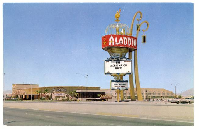 The marquee of the Aladdin hotel advertises the Jackie Mason Show in this Aladdin hotel postcard. Part owner Sorkis Webbe was indicted for a $1 million scheme during the hotel's expansion in 1979.