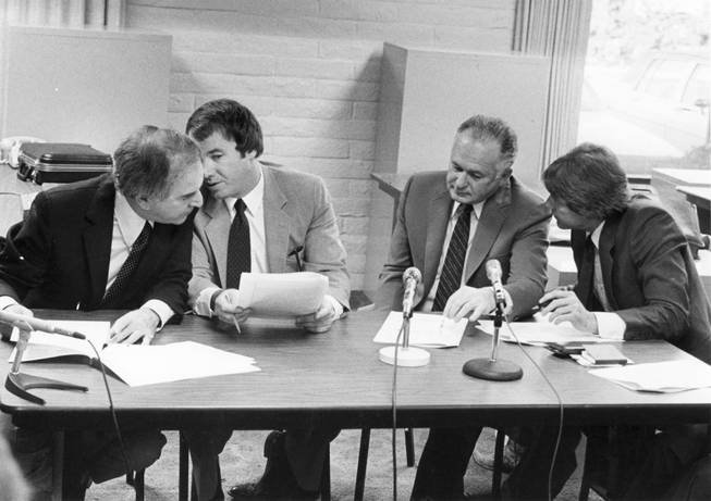 Stardust hotel-casino owners Al Sachs and Herb Tobman confer with their attorneys as they appear in 1984 before state gaming regulators who alleged that $1.6 million had been skimmed from the casino on their watch. Sachs and Tobman eventually agreed to surrender their licenses and pay a then-record $3.5 million fine.