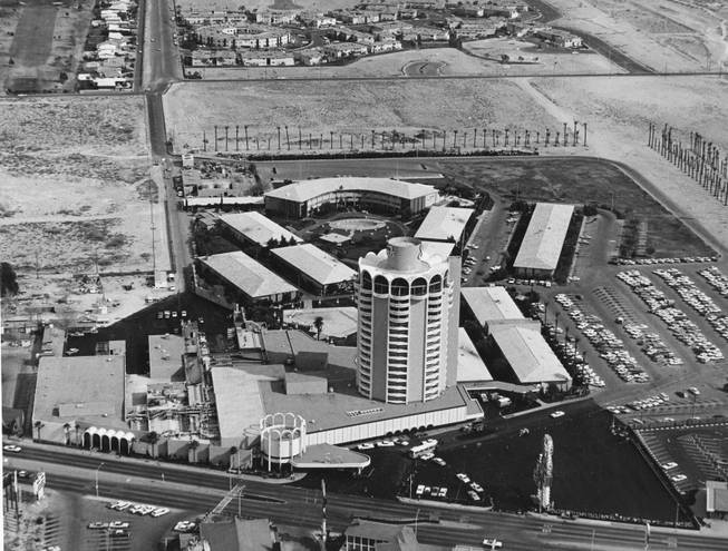 An aerial shot of the Sands from 1966. It's alleged that Frank Sinatra was a casino front man for Sam Giancana in the mob-owned Cal-Neva Lodge in Lake Tahoe.