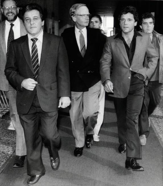 Mobster Anthony Spilotro, left, and his brother, Michael, leave the ...