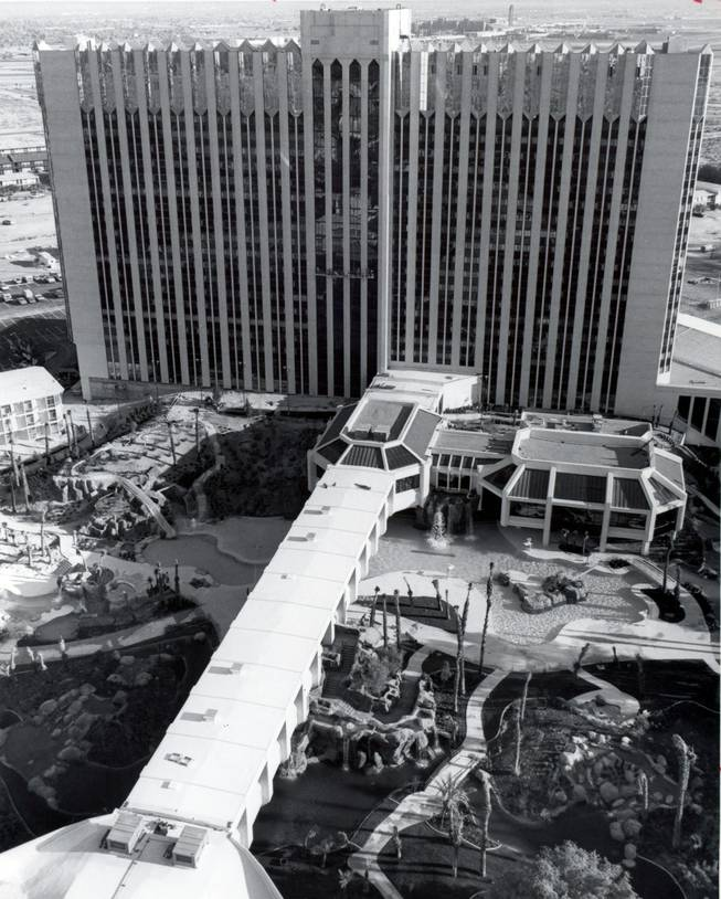 An aerial shot of the Tropicana. After initially being sent to Los Angeles to control the mob's interest in Hollywood, Johnny Rosselli was moved to Las Vegas to oversee the construction of the $50 million Tropicana.
