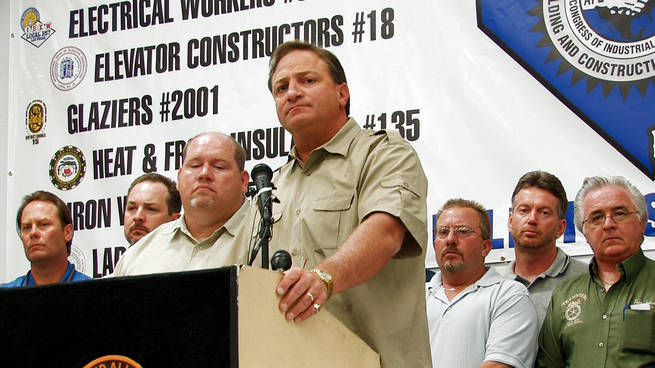 Steve Ross, secretary treasurer of the Southern Nevada Building and Construction Trades Council, speaks about construction worker deaths at MGM Mirage's CityCenter site during a news conference Monday in Henderson.