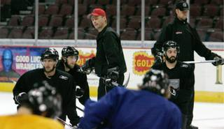 Las Vegas Wranglers head coach Glen Gulutzan, center, presides over practice May 28, 2008 at the Orleans Arena. The Wranglers made it to the Kelly Cup finals before losing in six games to Cincinnati.