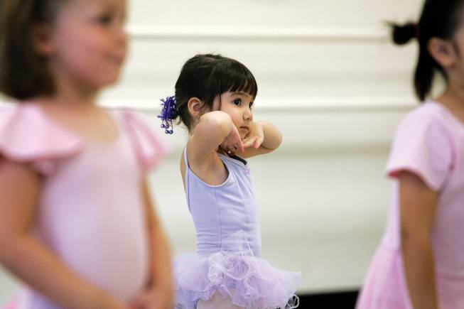 Cilia Rockwell, 3, takes part in the first week of the Academy of Nevada Ballet Theatre Creative Dance Camp. More than 20 girls, ages 3 to 8, prepare for and put on a new production each week.
