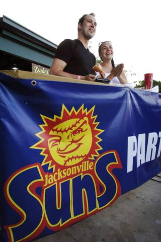 Jacksonville Suns fans watch a game at the Baseball Grounds of Jacksonville, Florida.