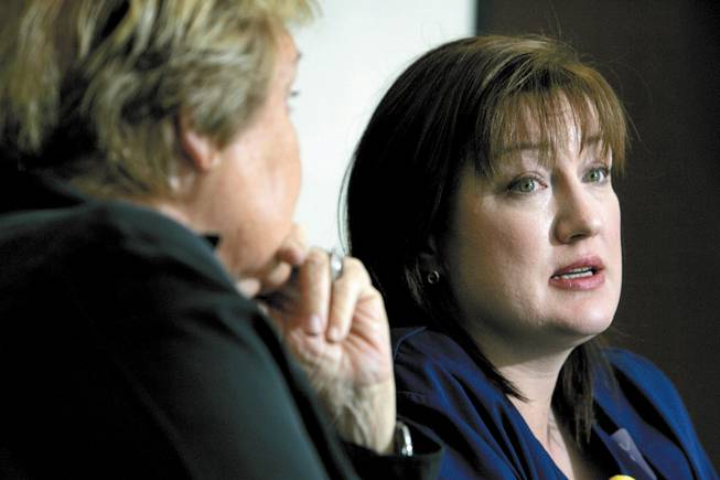 Shauna Hamel, right, SEIU Nevada's successor to Vicky Hedderman as president, responds to a question during an interview at the Las Vegas Sun in May as Helen Miramontes, a past president of the California Nurses Association, listens.