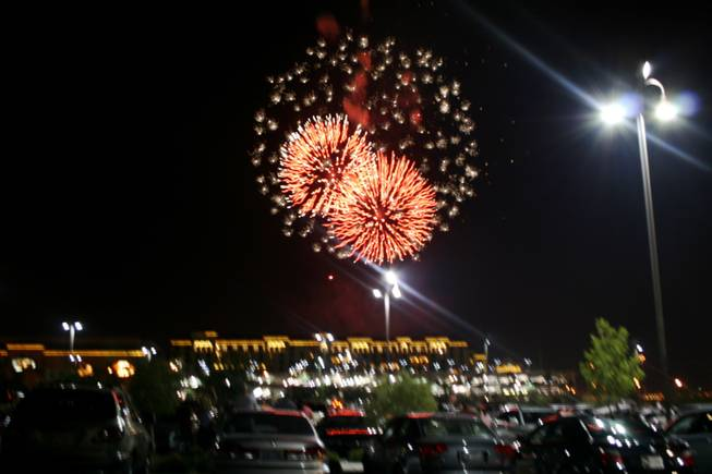 Fireworks light the sky near Green Valley Ranch.