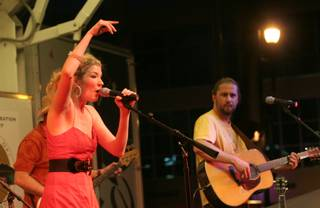 Country singer Emily West performs a set during the Fourth of July celebration at the Henderson Events Plaza.