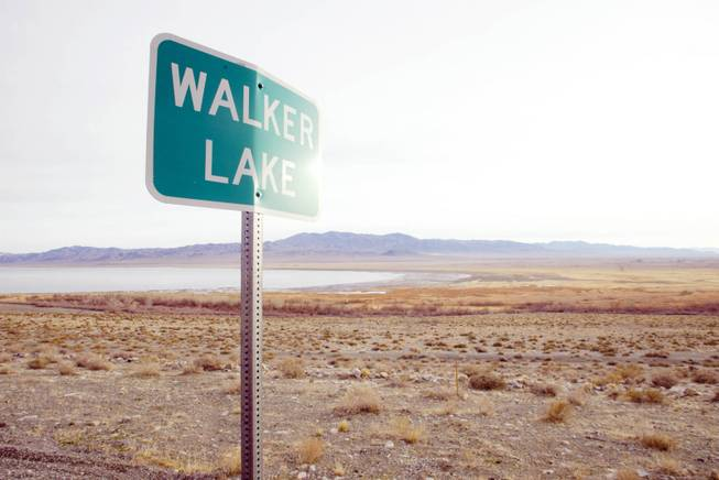 A road sign announces Walker Lake near the receding lake's south end in 2003.
