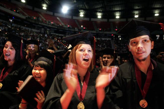 Clark County School District adult education graduates, from left, ...