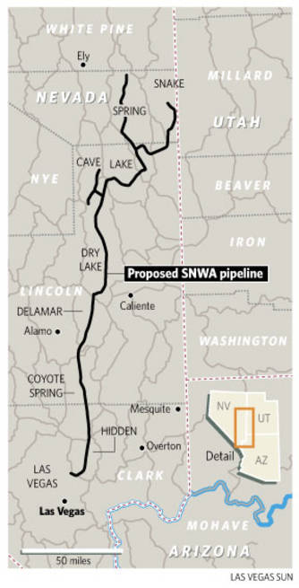 Location of the proposed Southern Nevada Water Authority pipeline.