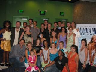 The cast of the Mamma Mia! show in Las Vegas.