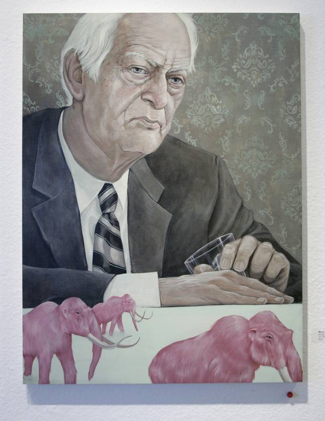 A daunting story is told: Maybe it's the dark gaze. Maybe it's the lonely tone, the age spots, white hair, wrinkles, suit and tie and tipped glass that create this somber scene of a man who's had enough (of something) and sits pensively before flocked wallpaper as pink woolly mammoths march past.