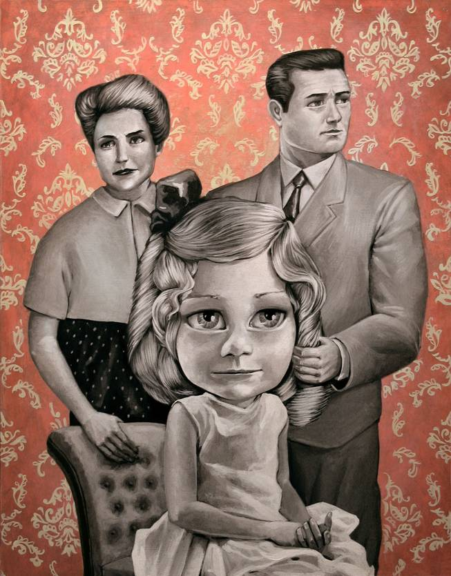 Fun portrayals of family life: The perfect parents in the perfect clothes stand behind their perfect daughter with perfect ringlets and perfect eyes -- an amalgamation of doll and little girl. The parents stare in different directions.