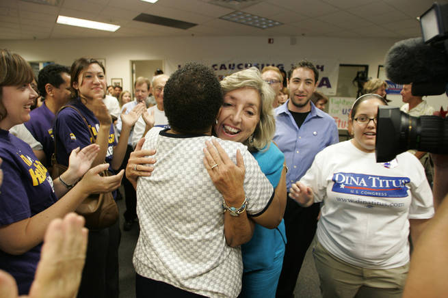 State Sen. Dina Titus, D-Las Vegas, who is running for Congress against Rep. Jon Porter, R-Nev., greets supporters at a primary election night party in Henderson.