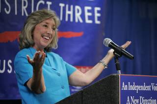 State Sen. Dina Titus, D-Las Vegas, who won Tuesday's Democratic primary for the 3rd Congressional District, speaks to supporters at the SEIU headquarters Tuesday, Aug. 12, 2008.