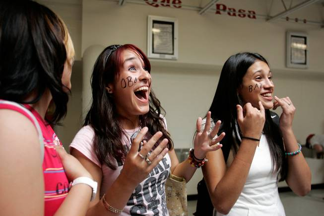 Rio Grande High School students, from left, Tiana Clovis, 17; Estephania Loya, 17; and Olivia Legarda, 15, talk about being in the audience as Sen. Barack Obama spoke Monday at the predominantly Hispanic school in Albuquerque.