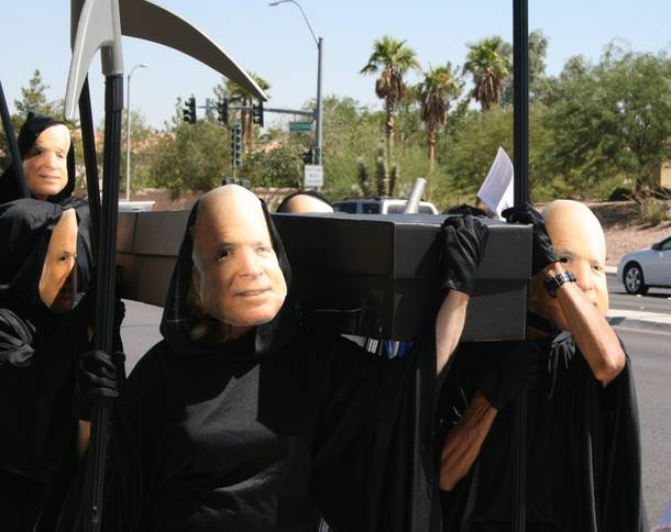 Sen. John McCain protesters held a mock funeral Wednesday for Nevada's foreclosed homes. The reapers were from the group Change to Win and are on a 10-state tour of dramatic protests in a campaign to reveal their grievances against a McCain presidency.