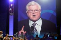Sen. Edward Kennedy speaks on the first day of the  Democratic National Convention at the Pepsi Center in Denver.