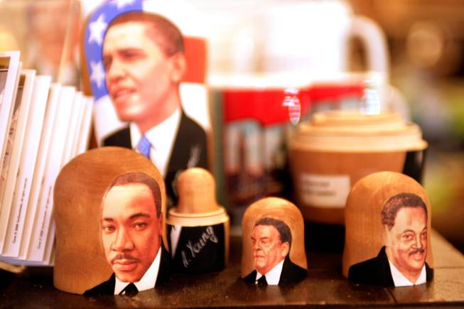 "For sale at a bookstore in downtown Denver: Great African-American leaders Russian nesting dolls. They were on display next to the boxes of mints with President Bush's picture on them, called ""Impeachmints."" -- Leila Navidi"