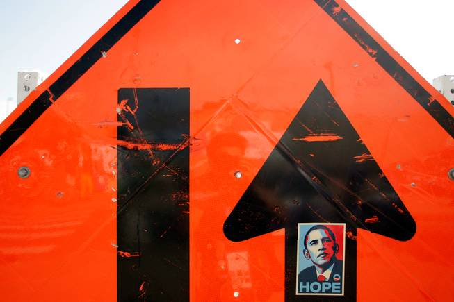 You never know when you'll see Barack Obama's image here in Denver. He always pops up when you least expect him to. This was on a construction street sign right outside the entry gates to the Pepsi Center, where the Democratic National Convention is being held.