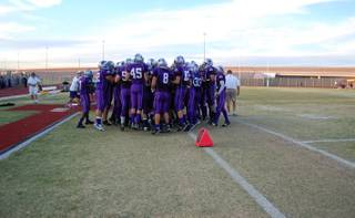 The Silverado Skyhawks get pumped up before heading to the field for their first game of the season against the Desert Pines Jaguars.
