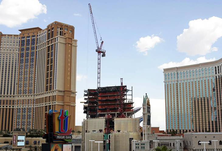A view of the St. Regis Residences at the Venetian Palazzo, Las Vegas, (center) between the Palazzo and Venetian resorts on September 8, 2008.
