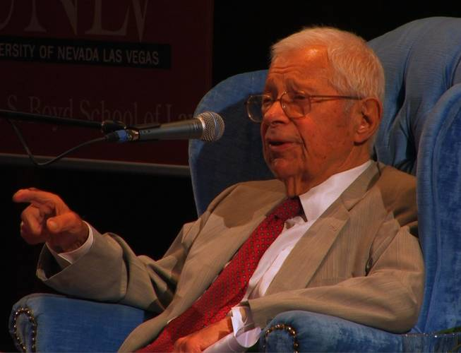 "Ninety-four-year-old Daniel Schorr, longtime journalist and  National Public Radio's senior news analyst, spoke Thursday, Sept. 11, 2008, at UNLV on the topic ""Forgive Us Our Press Passes,"" as part of the ""Peace in the Desert"" lecture series sponsored by UNLV's Saltman Center for Conflict Resolution."