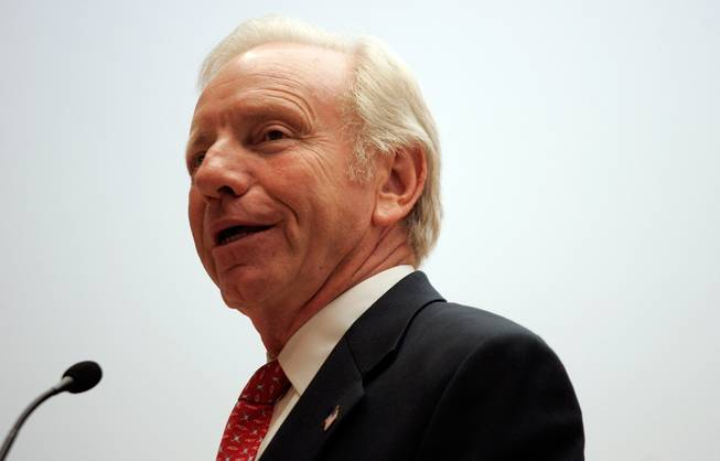 Sen. Joe Lieberman (I-Conn.) campaigns for John McCain at Temple Beth Sholom in Summerlin in September 2008.