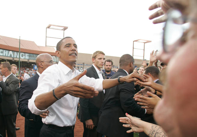 Barack Obama shakes hands with supporters Wednesday, Sept. 17, 2008, at Cashman Field in Las Vegas.