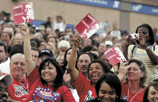 Culinary Union workers cheer Democratic presidential candidate Barack Obama during his appearance Wednesday  in Las Vegas.