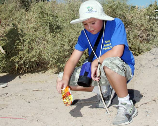 Coby Schmitz, 9, picks up trash at Sunset Park on ...
