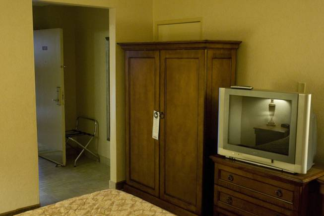 Room 1203 at the Palace Station Hotel & Casino is seen in Las Vegas, Friday, Sept. 19, 2008. The room is where O.J. Simpson allegedly committed felony kidnapping, armed robbery and conspiracy related to a Sept. 13, 2007 confrontation with sports memorabilia dealers.