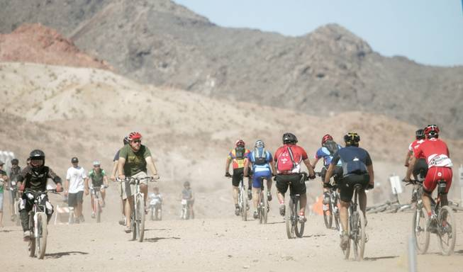 Cyclists try out the latest bikes and gear during the annual Interbike International Expo's Outdoor Demo on Sept. 22 at Bootleg Canyon.