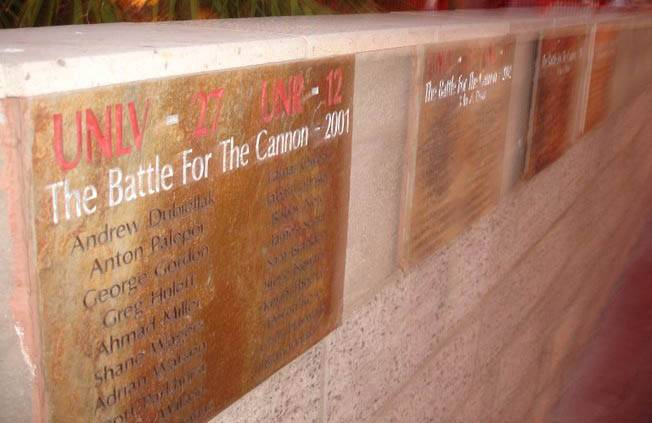 In the top-right corner of a brick wall near the entrance to Rebel Park are four plaques listing names of the seniors on UNLV squads that defeated UNR each year from 2001-2004. This weekend, UNLV coach Mike Sanford will try to hang his first plaque with his senior class.