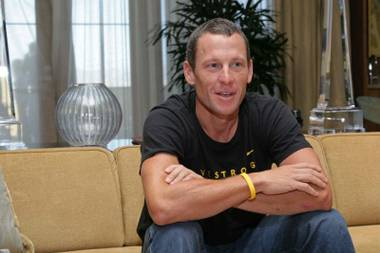 Lance Armstrong in the Palazzo's presidential suite.