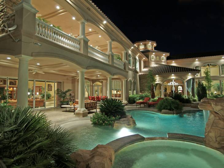 At $7 million, the residence at 9401 Kings Gate Court, Las Vegas, was among the most expensive homes sold in the Las Vegas Valley during 2012. This is a backyard view of the property.