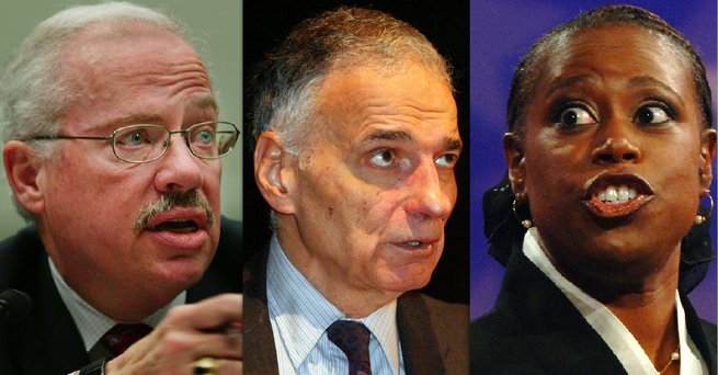 The most prominent third party presidential candidates for the 2008 election have been Libertarian Bob Barr, left, independent candidate Ralph Nader and Green Party candidate Cynthia McKinney.