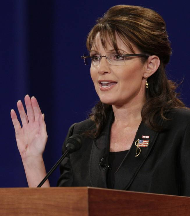 Republican vice presidential candidate Alaska Gov. Sarah Palin speaks during a vice presidential debate at Washington University in St. Louis, Mo., Thursday, Oct. 2, 2008.